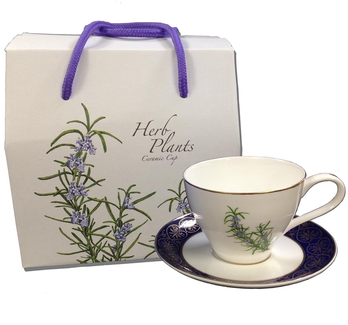 香草植物郵票圖案杯盤組(迷迭香)