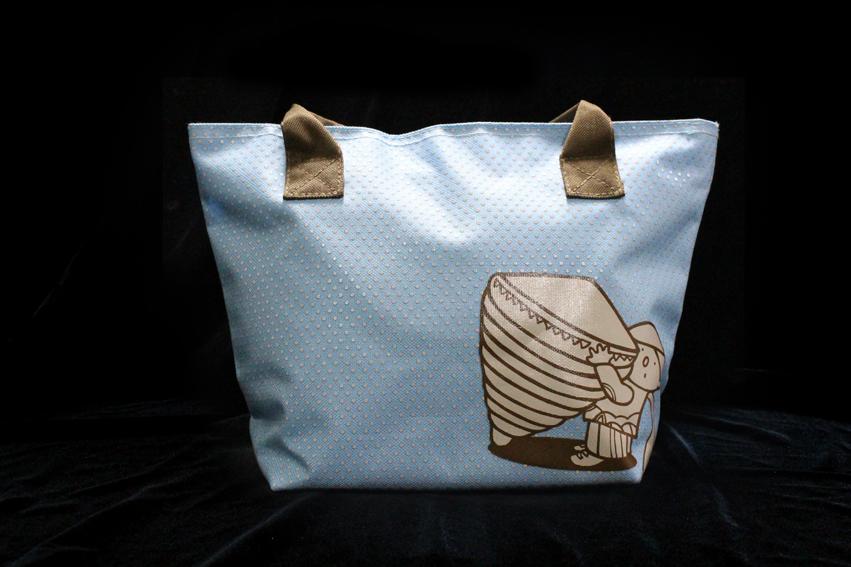 童玩郵票圖案購物袋-粉藍