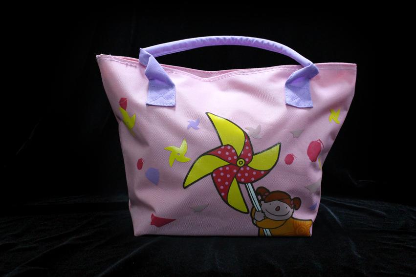 童玩郵票圖案購物袋-粉紅