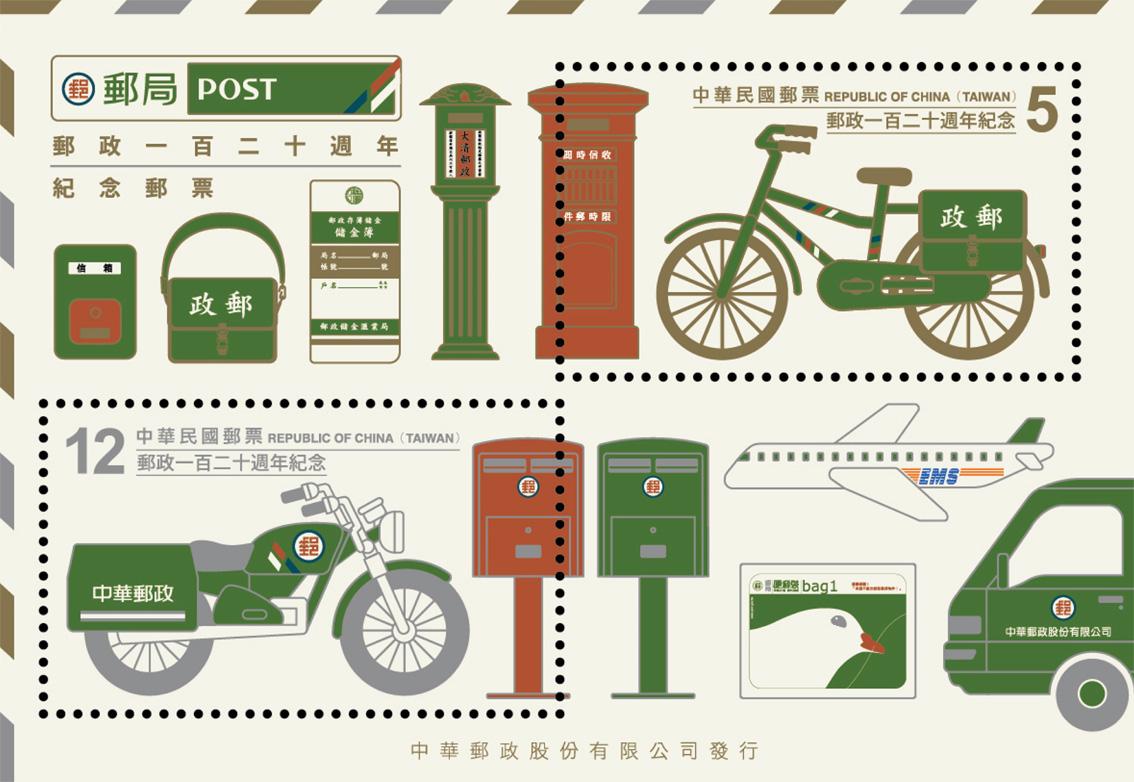 郵政120週年紀念郵票小全張