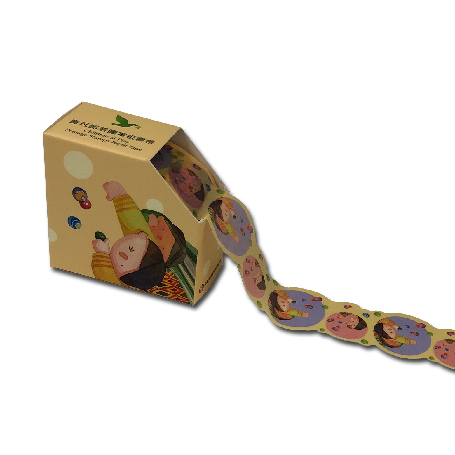 童玩郵票圖案紙膠帶-打彈珠